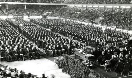 May 25, 1942: Boston University graduated 1,452 young men and women, many of whom immediately entered war work or the armed forces after the 69th annual Commencement exercises at the Boston Arena. Due to the war, BU's graduation was several weeks earlier than usual, the only previous Commencement held in May was in the war year of 1917. Paul V. McNutt, chairman of the War Manpower Commission and the Administrator of the Federal Security Agency, gave the Commencement address.