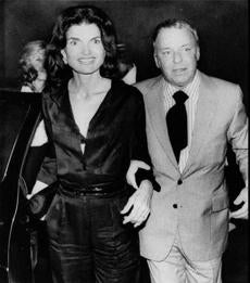Kennedy Onassis out on the town with Frank Sinatra.