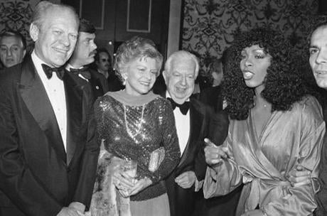In November 1979, Gerald and Betty Ford, left, Donna Summer, right, and Cedars-Sinai Medical Center board chairman Steve Broidy attended a reception prior to a disco party benefit in Beverly Hills.