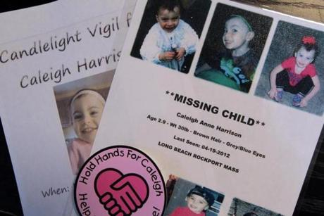 Gloucester, MA - 5-10-12 - Flyers Allison Hammond (cq) and Anthony Harrison (cq) have made for their missing daughter Caleigh Harrison (cq). (Globe staff photo / Bill Greene) section:g, reporter:english, Topic: harrison