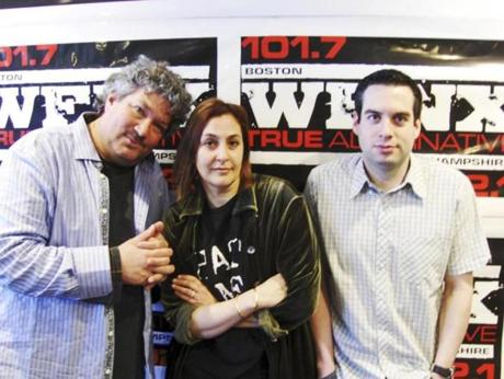 From left: WFNX news director Henry Santoro, midday DJ Julie Kramer, and program director Keith Dakin in an undated photo.