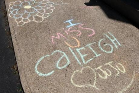 Gloucester, MA - 5-20-12 - A chalk message outside the Harrison home. (Globe staff photo / Bill Greene) section:g, reporter:english, Topic: harrison