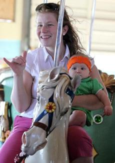 Riding the restored Paragon Carousel in Hull.