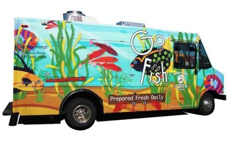 Go fish! truck participating in the Boston Food Truck Festival at the UMass Boston Campus Center.