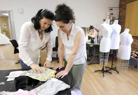 Designer Sondra Celli (left) and an assistant, Valentina Sofranova.