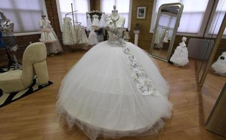The gypsy wedding dress on display in the salon.