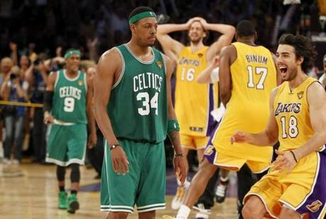 Pierce and the Celtics fell to the Lakers in Game 7 of the 2010 finals.