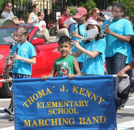 5-28-2012 Dorchester, Mass. Several hundred people attended Welcome Home Iraqi Veterans Memorial Day Ceremony at Cedar Grove Cemetary, hosted by VFW, American Legion and Amvets Posts. Members of Thomas Kenny Elementary School Marching Band of Dorchester. Globe photo by Bill Brett