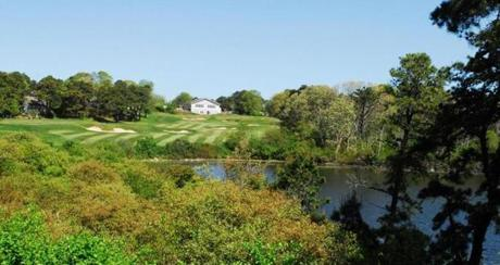 Hitting over a pond is part of the challenge on this hole at Ocean Edge Resort and Golf Club.