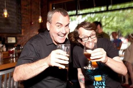5/29/12 Jamaica Plain, MA -- From left, Dann Paquette, Pretty Things co-founder and brewer and Jim