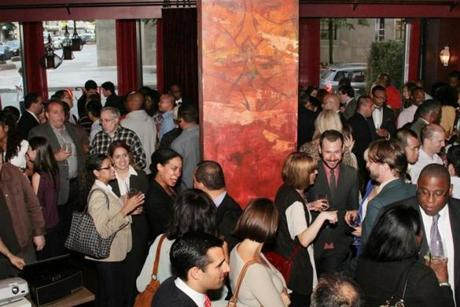 The crowd enjoys the Future Boston Alliance launch party last month.
