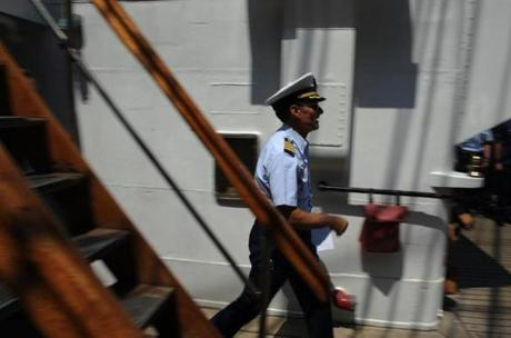 Captain Eric Jones, of the USCG Barque Eagle, a training ship, docked on May 28, 2012 at New York Harbor and then enroute to Norfolk, VA.