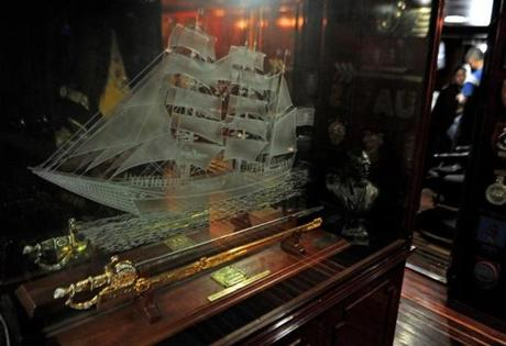 A replica of Simon Bolivar's sword, a gift of Venezuelan president Hugo Chavez to the crew of the Buque Escuela Guayas, from Ecuador. The training tall ship was anchored at Pier 86 in NY on May 28, 2012 befores setting sail to Norfolk, VA, then on to Baltimore and finally Boston before crossing the Atlantic to Spain.