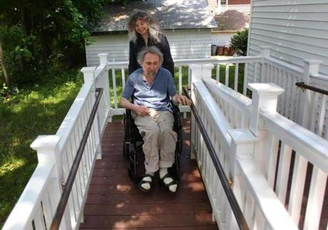 Medford-06/01/2012 Donald Langosy is a painter and was stricken with MS, Thanks to a state-sponsored home loan he was able to have a large wheelchair ramp installed at his home. His wife Elizabeth helps him. .Globe staff Photo by John Tlumacki)
