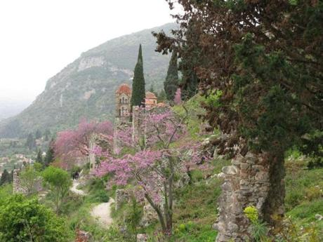 The ruins at Mystras, a Byzantine city on the Peloponnese that lies on the slope of a hill with its fortress at the top.