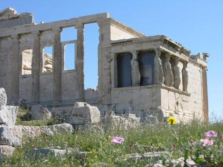 The Erechtheion on the north side of the Acropolis in Athens.