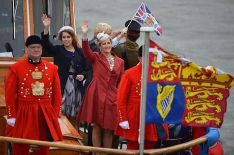 Princess Beatrice of York and Sophie Countess of Wessex waved to wellwishers.