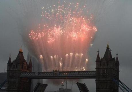 Fireworks exploded above Tower Bridge during the jubilee.