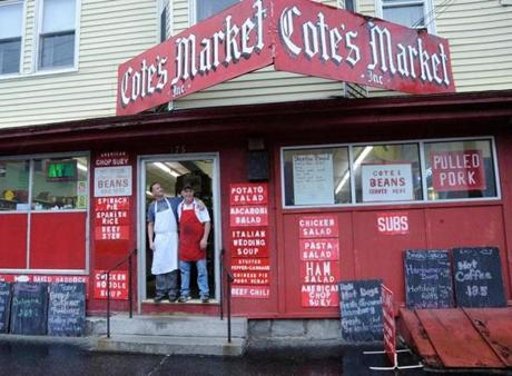 Cote's Market storefront in Lowell.