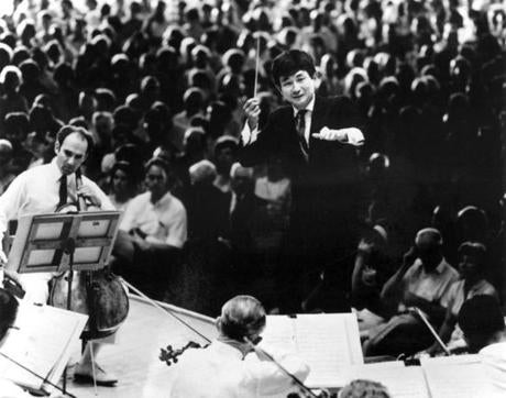 Seiji Ozawa makes his debut with the Boston Symphony Orchestra in 1964 at Tanglewood. (Whitestone)