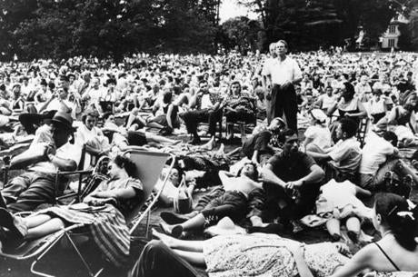 Outside the music shed an overflow audience sprawls on the grass at the Berkshire Music Festival on August 5, 1955.  The six week festival featured the Boston Symphony Orchestra.