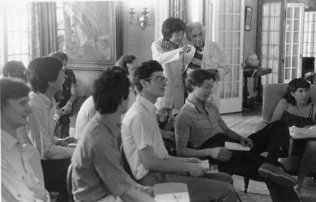 Seiji Ozawa talks with Leonard Bernstein during a lecture for Tanglewood students.