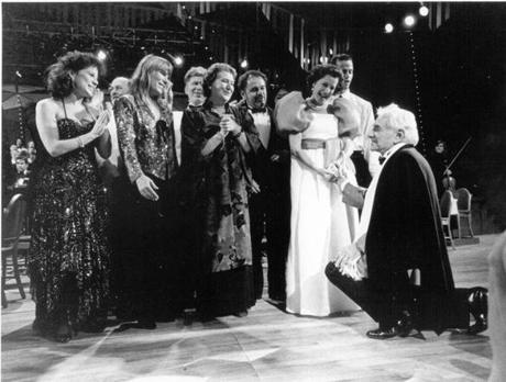 "Leonard Bernstein thanks participants in the ""Bernstein at 70!"" concert.  (Left to right) Louise Edeiken, Adrienne Albert, Patricia Rutledge, and Kitty Carlisle Hart."