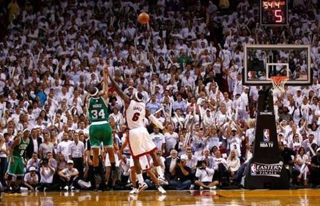 Pierce hit a key three-pointer over LeBron James with less than a minute left to help power the win.