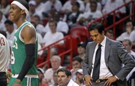Heat coach Erik Spoelstra saw his team lose its third straight game to the Celtics.