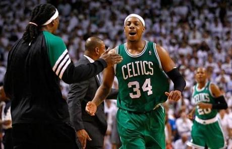 Paul Pierce and the Celtics won Game 5 in Miami on Tuesday to take a 3-2 lead over the Heat in the East finals.
