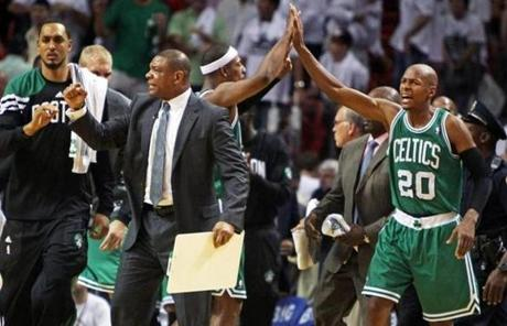 Doc Rivers and the Celtics moved within one win of a spot in the NBA Finals with the victory.