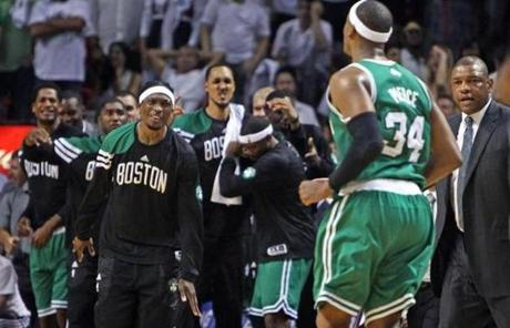 Pierce's shot set off a celebration on the Celtics bench, as Boston took a lead in the series for the first time.