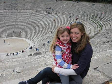The author's wife, Joanne Sadler, and daughter, Leila, at the theater of Epidaurus.