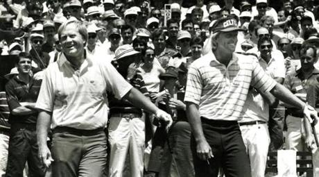 June 14, 1988: Jack Nicklaus and Greg Norman on the first tee of an opening practice round. Despite presently holding the record for most majors ever won at 18, and despite winning the US Open as a rookie in 1962, Jack Nicklaus did not make the cut at The Country Club in 1963 or 1988. Greg Norman, one of the pre-tournament favorites had to withdraw during the second round when he injured his wrist hitting a concealed rock on his third shot at the 9th hole.
