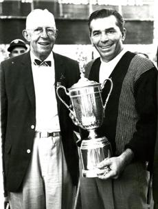June 23 1963: Julius Boros, right, winner of the 1963 US Open held the victory trophy after he won a playoff at The Country Club. With Boros, at left, is Francis Ouimet who won the Open on the same course fifty years ago. Boros bested Arnold Palmer and Jacky Cupit in the 18-hole playoff to win the $17,500 prize.
