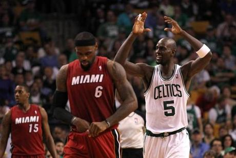 An annoyed Kevin Garnett watched as LeBron James and the Heat ran away with Game 6.