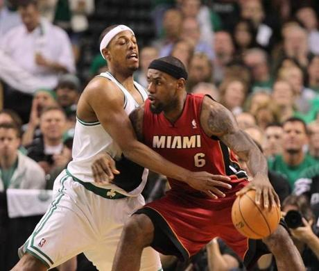 LeBron James backed up on Paul Pierce on this play in the first quarter.