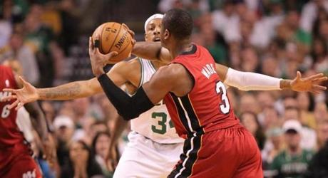 Dwyane Wade tried to get a pass around Paul Pierce in the first quarter.