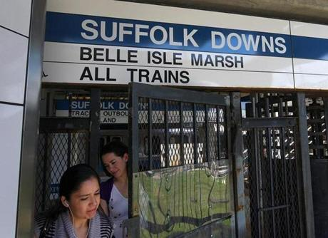The MBTA stop behind Suffolk Downs racetrack in East Boston, where a proposed $1 billion casino might be built. The area will probably see changes as a result.