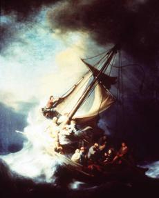 Rembrandt, The Storm on the Sea of Galilee: Stolen from the Dutch Room. Oil on canvas, 161.7 x 129.8. cm. Inscribed on the rudder, REMBRANDT. FT: 1633. This is thought to be Rembrandt's only seascape painting.