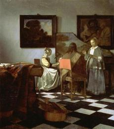 Vermeer, The Concert: Stolen from the Dutch Room. Oil on canvas, 72.5 x 64.7 cm.