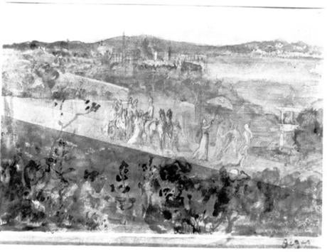 Degas, Cortege aux Environs de Florence: Stolen from the Short Gallery. Pencil and wash on paper, 16 x 21 cm.