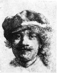 Rembrandt, self portrait: Stolen from the Dutch Room. Etching, 1 3/4