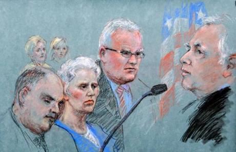 A courtroom sketch from Greig's sentencing.