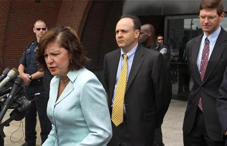 US Attorney Carmen Ortiz spoke at the sentencing. Prosecutors today asked that Greig be sentenced to 10 years in prison.