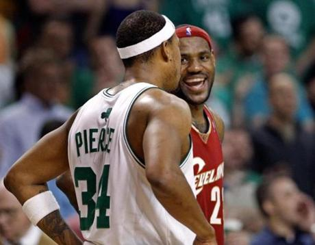 LeBron James (45 points) outscored Paul Pierce, but his Cavaliers still lost.