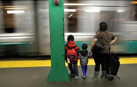 Boston, MA., 06/13/12, A new study says T ridership will increase even more to system that is already squeezed. Photos taken at the Government Center station. Section: Metro Suzanne Kreiter/Globe staff
