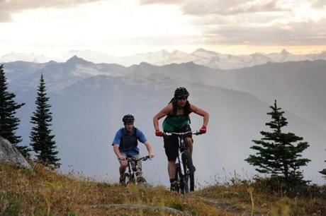 Two riders enjoyed the mountain bike trails on Whistler Mountain.