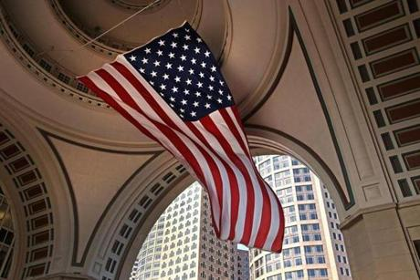 BOSTON ,MA 06/ 14/ 2012: FLAG DAY under the dome at Rowes Wharf in Boston.... ( David L Ryan / Globe Staff Photo ) SECTION: METRO TOPIC stand alone photo