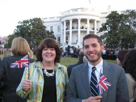 Resnek at the arrival ceremony of British Prime Minister David Cameron on the White House South Lawn. Resnek was with his stepmother, Carolyn.